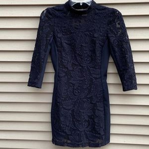 H&M navy bodycon dress w lace 3/4 sleeves